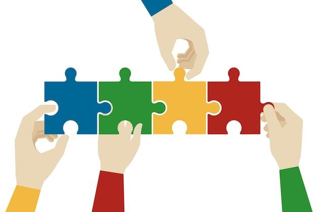 Mani che assemblano i pezzi del puzzle. Vettore gratuito