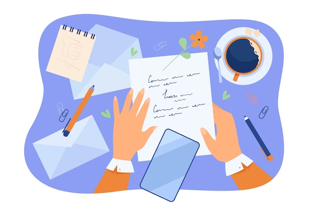 Hands of character writing letter at desk with papers, pencil, envelopes and coffee cup. Free Vector