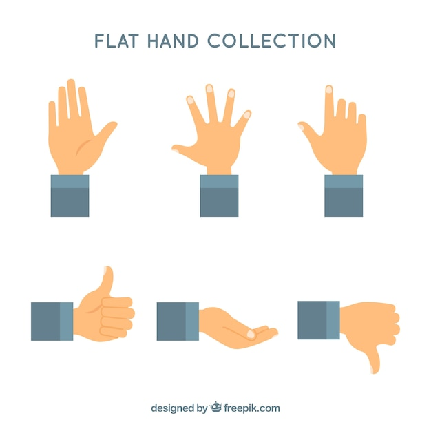 Hands collection with different poses in flat syle Free Vector