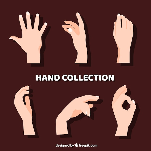 Hands collection with different poses in hand drawn style Free Vector