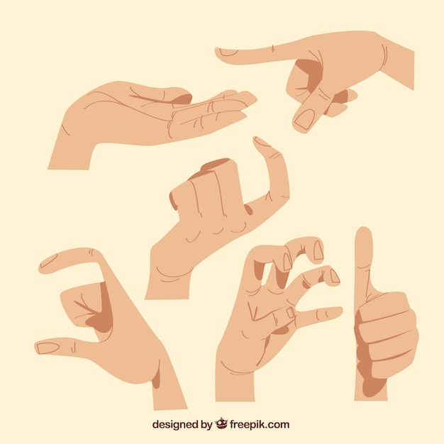 hands collection with different poses in hand drawn style vector