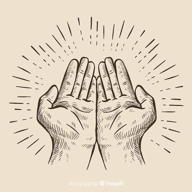 Hands composition with hand drawn style Free Vector
