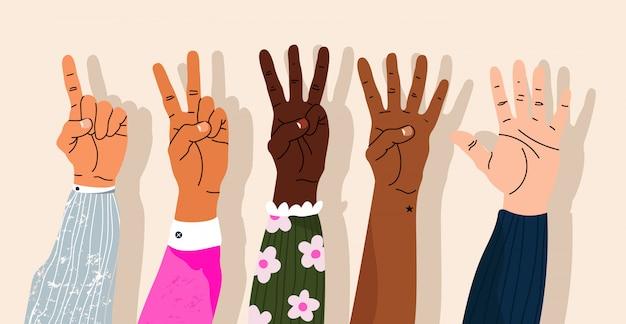 指を見せて数える手。手で示す数字。さまざまなモダンな手描きの手首。漫画のスタイルの要素を分離しました。トレンディな手のアイコン。指を当てにしています。 Premiumベクター
