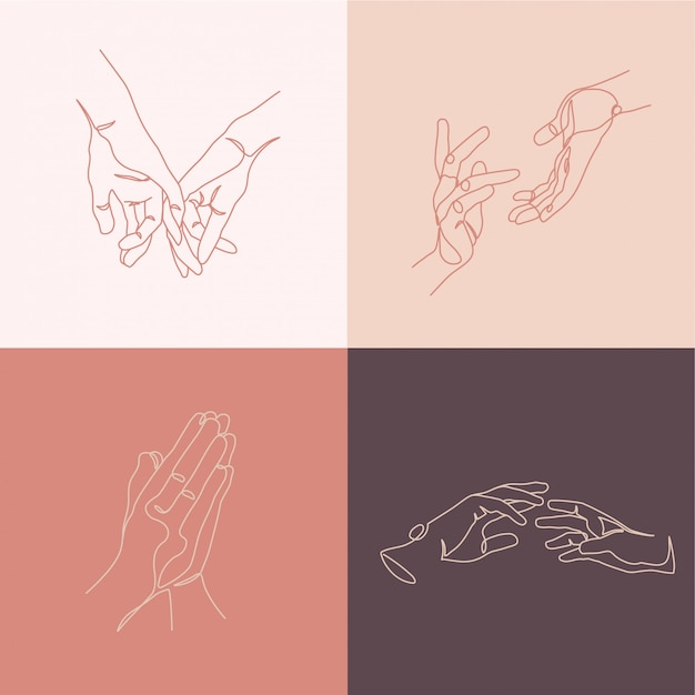 Hands creative compositions. minimal line art style illustrations. Premium Vector