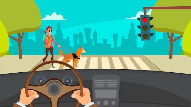 Hands driving car Premium Vector