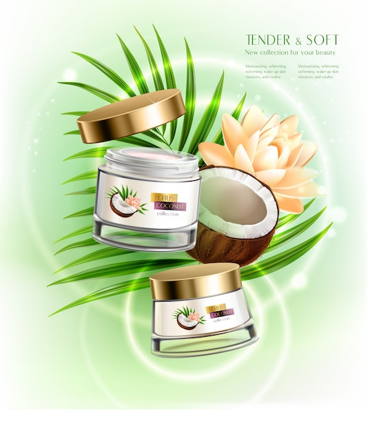 Hands and face luxurious nourishing creams with hydrating coconut oil realistic composition with palm leaf Free Vector