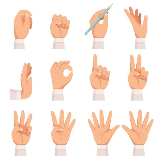손 제스처 설정합니다. 인간의 손바닥과 손가락 터치 포인팅 및 지주 복용 벡터 만화 컬렉션을 보여주는 절연 프리미엄 벡터