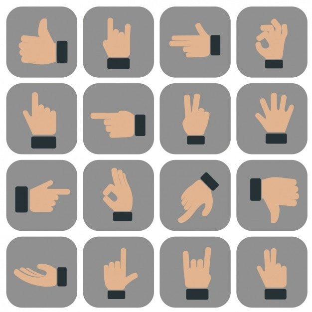 Hands gestures icons collection Free Vector