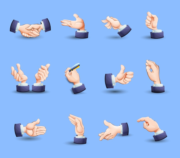Hands gestures icons set flat Free Vector