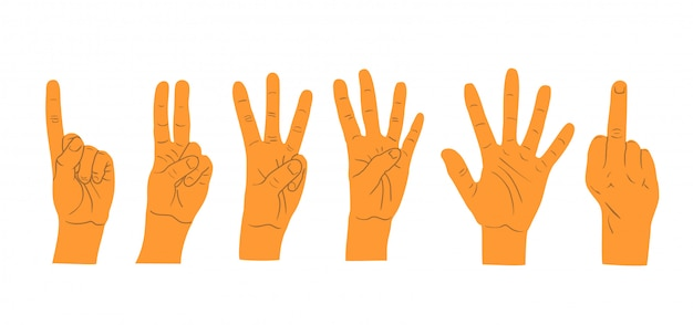 Hands gestures  on white background. hand count. Premium Vector