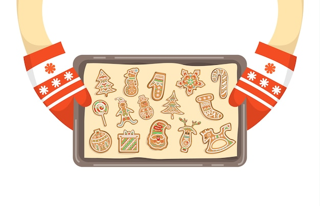 Hands in gloves holding tray with homemade cookies. traditional holiday gingerbread.   illustration Premium Vector