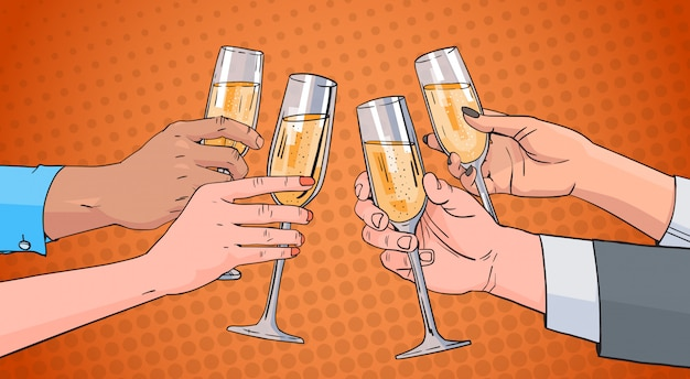 Hands group clinking glass of champagne wine toasting pop art retro pin up background Premium Vector