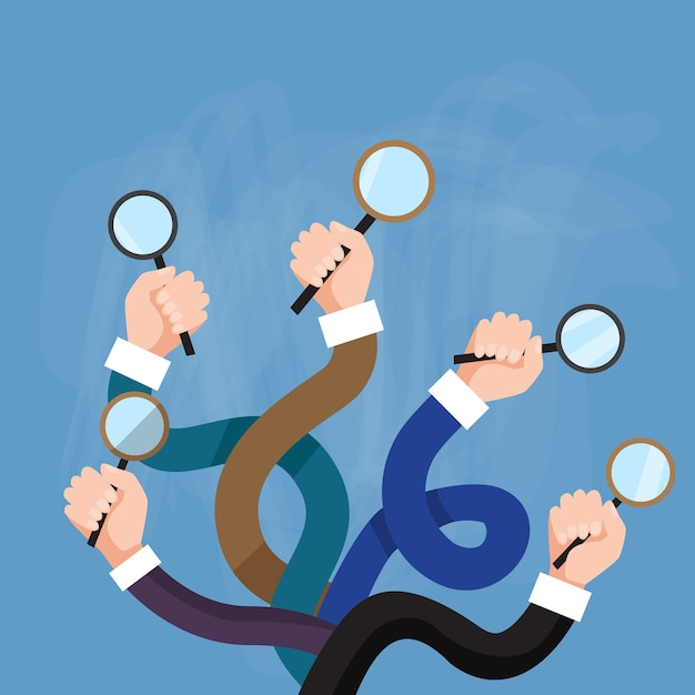 Hands group holding magnifying glass search choose Premium Vector
