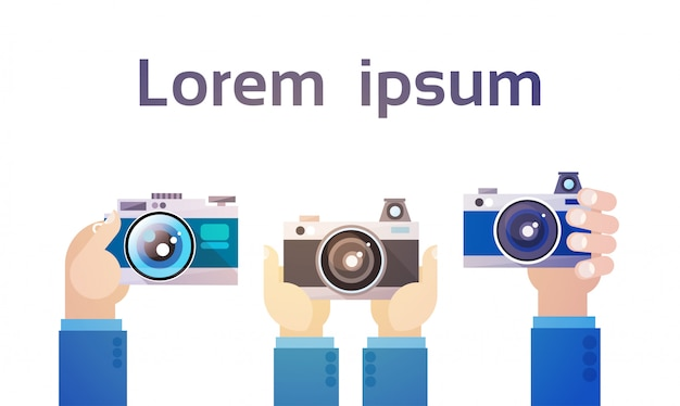 Hands group holding photo camera photography Premium Vector