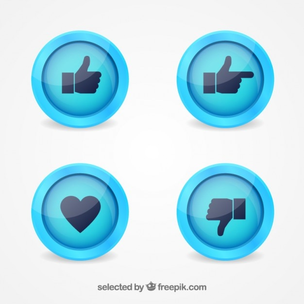 Hands and heart buttons Free Vector