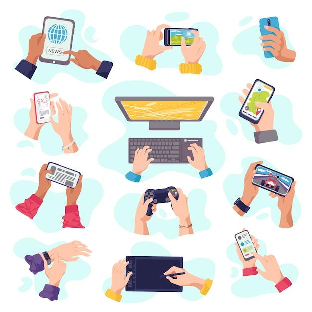 손에는 가제트, 휴대 전화, 디지털 장치 전자 제품, 삽화 세트가 있습니다. 손에 남자, 노트북, 태블릿, 스마트 폰 또는 키보드 컴퓨터 장치. 가제트 손. 프리미엄 벡터