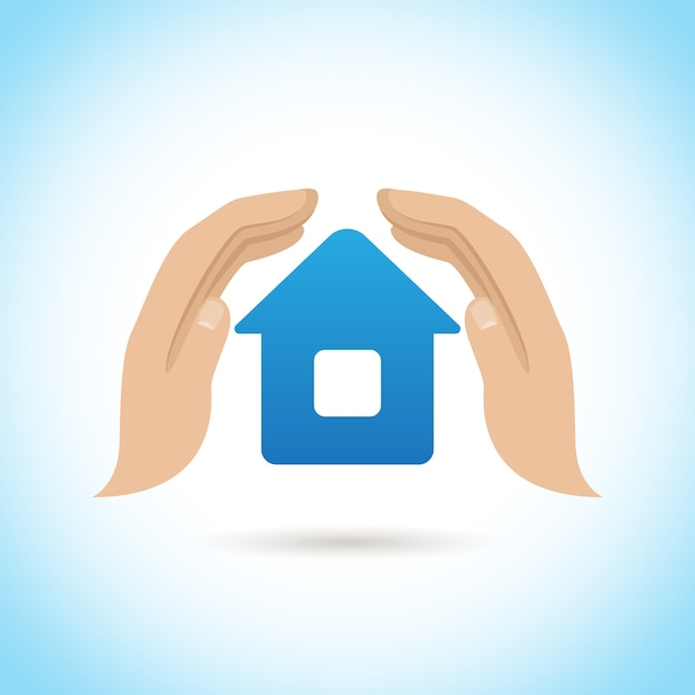 Hands hold home. home insurance concept Free Vector