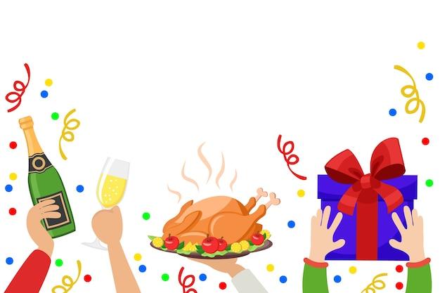 Руки держат бутылку шампанского, бокал, жареную индейку и подарочную коробку на белом фоне. рождественский фон. Premium векторы
