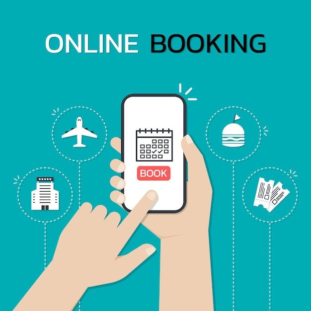 Держите смартфон руками и касайтесь экрана во время использования мобильного приложения онлайн-бронирования. Premium векторы