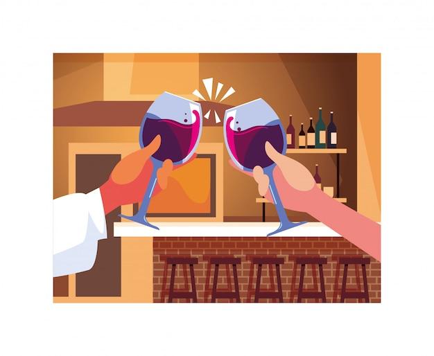 Руки держат бокалы, этикетка винный день Premium векторы