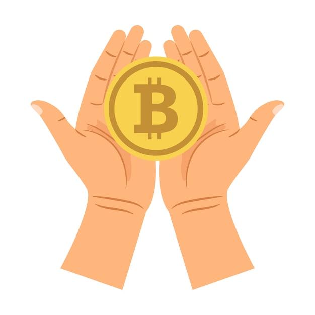 Hands holding bitcoin Premium Vector