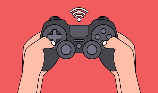 黒のゲームパッドを押しながらビデオゲームをプレイする手。図。 Premiumベクター