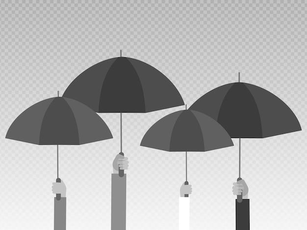 透明な背景に分離された黒い傘を持っている手。 Premiumベクター
