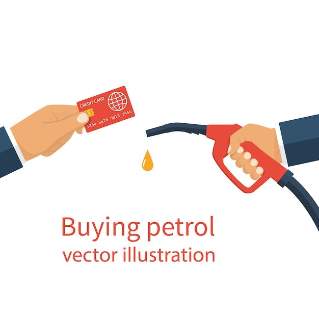 Hands holding card and gas dispenser Premium Vector