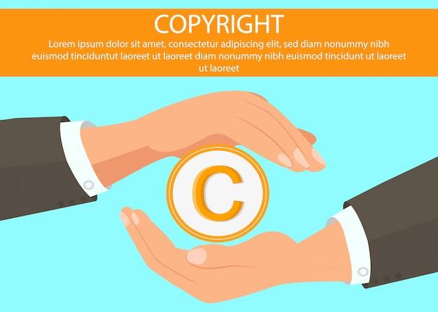 Hands holding copyright symbol web banner Premium Vector