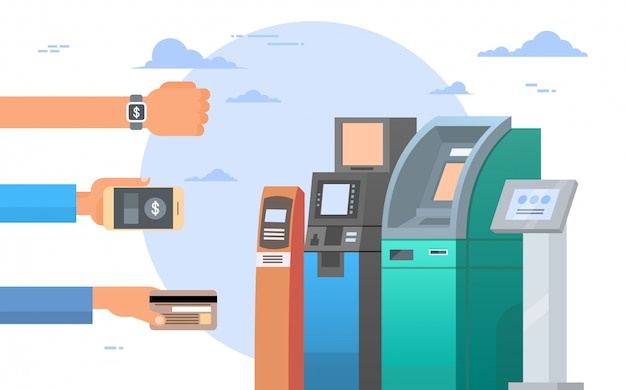 Hands holding credit card and cell smart phones atm terminal machine mobile payment concept Premium Vector