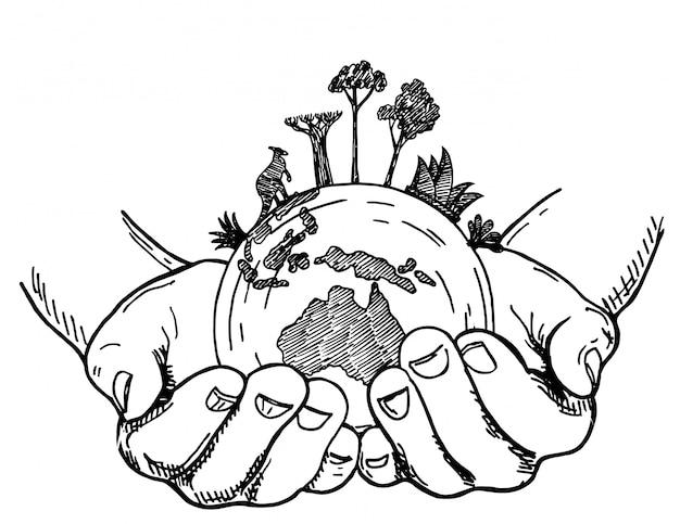 地球を両手。白い背景の上の人間の手で地球、スケッチスタイルのイラスト。地球上のオーストラリアの動植物、希少動物の保護。 Premiumベクター