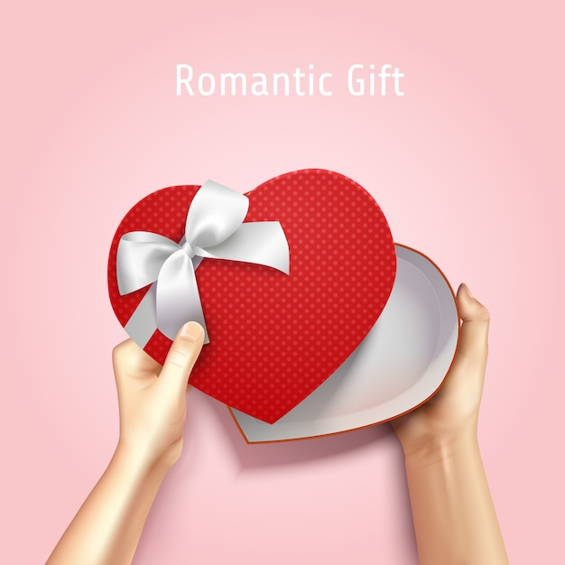 Hands holding gift box top view realistic 3d composition with heart shaped carton and editable text Free Vector