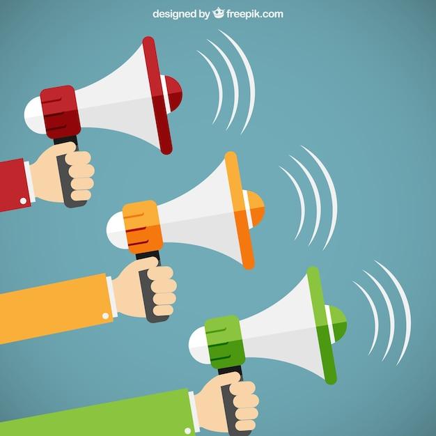 Hands holding megaphones in cartoon style Free Vector