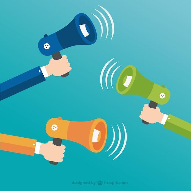 Hands holding megaphones Free Vector