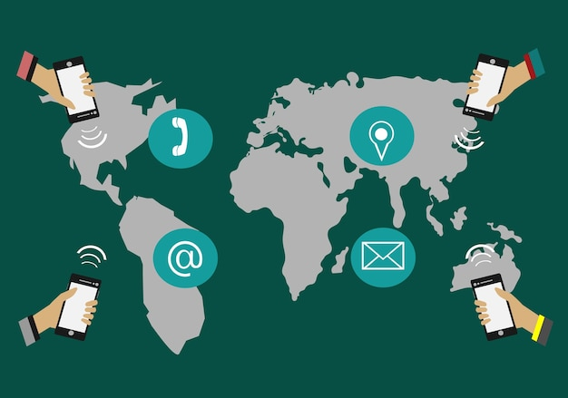 Hands holding phone communicate around the world. have a map in the background. Premium Vector