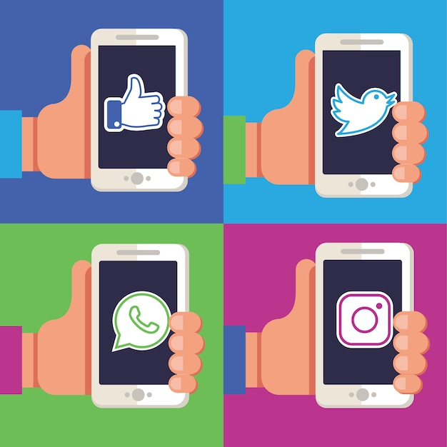Hands holding phones with social media apps. Premium Vector