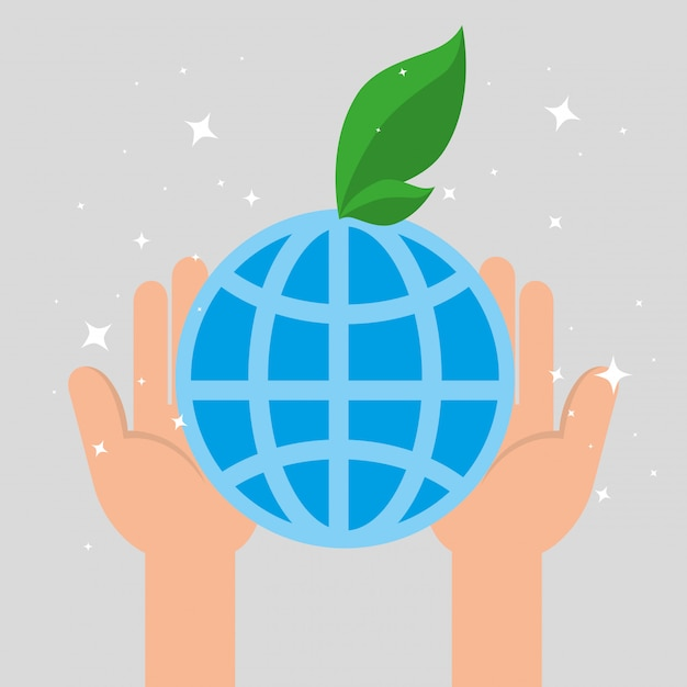 Hands holding the planet with a leaf Free Vector