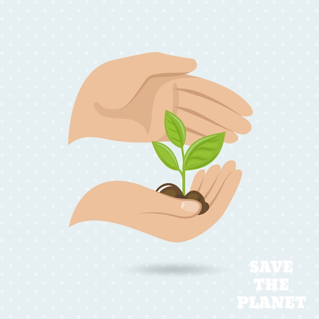 Hands holding plant sprout save the planet earth protect poster vector illustration Free Vector