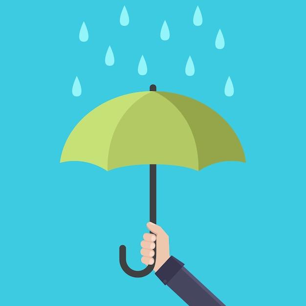 Hands holding rain umbrella flat design vector illustration Premium Vector