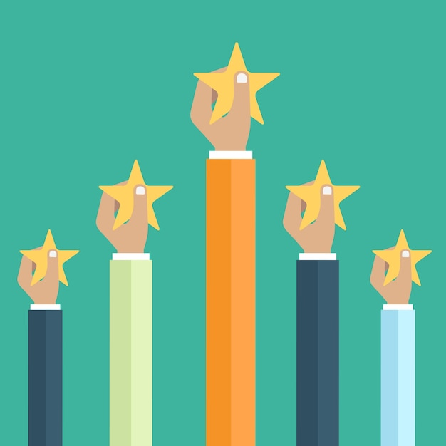 Hands holding rating star Premium Vector