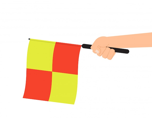 Hands holding referee flag Premium Vector