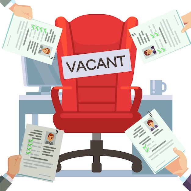 Hands holding resumes and empty work place illustration Premium Vector