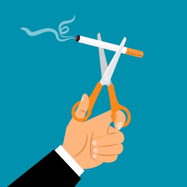 Hands holding scissors cuting cigarette Premium Vector