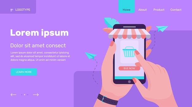 スマートフォンを押しながらオンラインストアで購入する手。電話、販売、バイヤーフラットベクトルイラスト。ショッピングとデジタルテクノロジーのコンセプトのウェブサイトのデザインまたはランディングウェブページ 無料ベクター