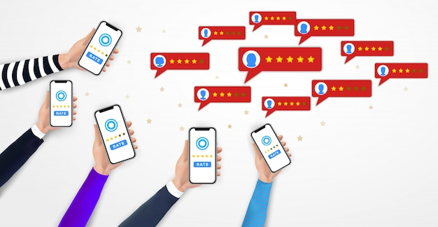 Hands holding smartphone, mobile rating app. five star rating. feedback, testimonial, voting Premium Vector