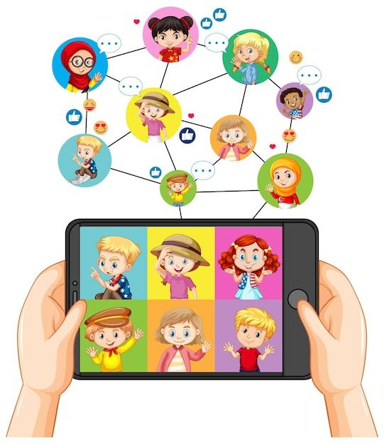 스마트 폰 화면에 다른 아이 함께 스마트 폰 들고 손 무료 벡터