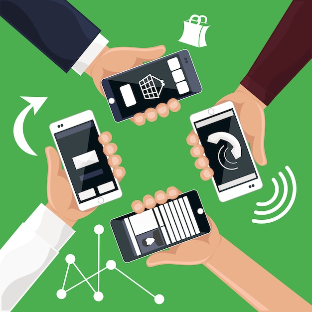 Hands holding smartphones telephones that call send sms
