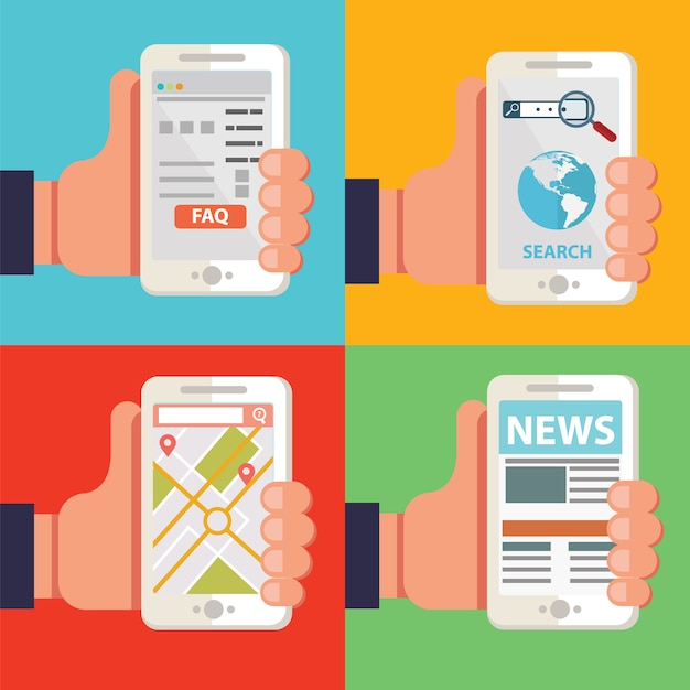 Hands holding smartphones with different apps, news, faq, navigation browser Premium Vector