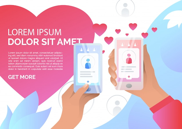 Hands holding smartphones with online dating application Free Vector