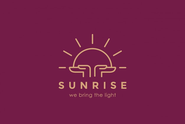 Hands holding sun rising logo design template linear style. sunrise sunset religion church pray logotype concept. foundation concept icon. Free Vector